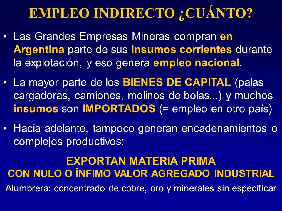 Las Grandes Empresas Mineras compran en Argentina parte de sus insumos corrientes durante la explotación, y eso genera empleo nacional. La mayor parte