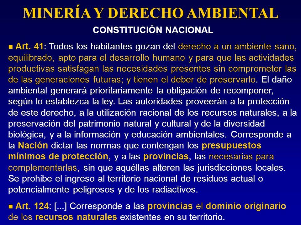 MINERÍA Y DERECHO AMBIENTAL CONSTITUCIÓN NACIONAL Art. 41: Todos los habitantes gozan del derecho a un ambiente sano, equilibrado, apto para el desarr