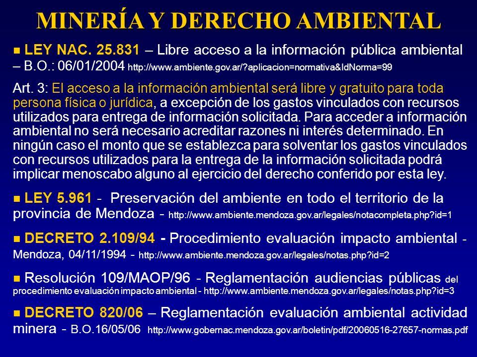 MINERÍA Y DERECHO AMBIENTAL LEY NAC. 25.831 – Libre acceso a la información pública ambiental – B.O.: 06/01/2004 http://www.ambiente.gov.ar/?aplicacio