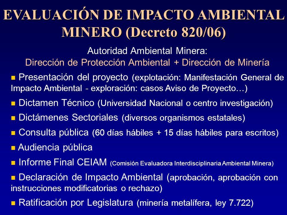 EVALUACIÓN DE IMPACTO AMBIENTAL MINERO (Decreto 820/06) Autoridad Ambiental Minera: Dirección de Protección Ambiental + Dirección de Minería Presentac