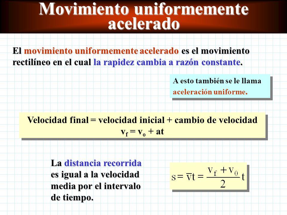 Movimiento acelerado a = aceleración v f = velocidad final v 0 = velocidad inicial t = tiempo El movimiento acelerado es la razón del cambio en la velocidad.