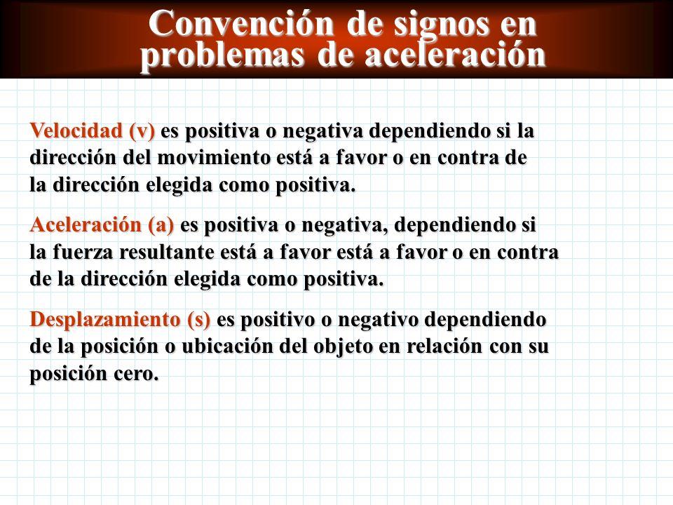 Convención de signos en problemas de aceleración Velocidad (v) es positiva o negativa dependiendo si la dirección del movimiento está a favor o en contra de la dirección elegida como positiva.