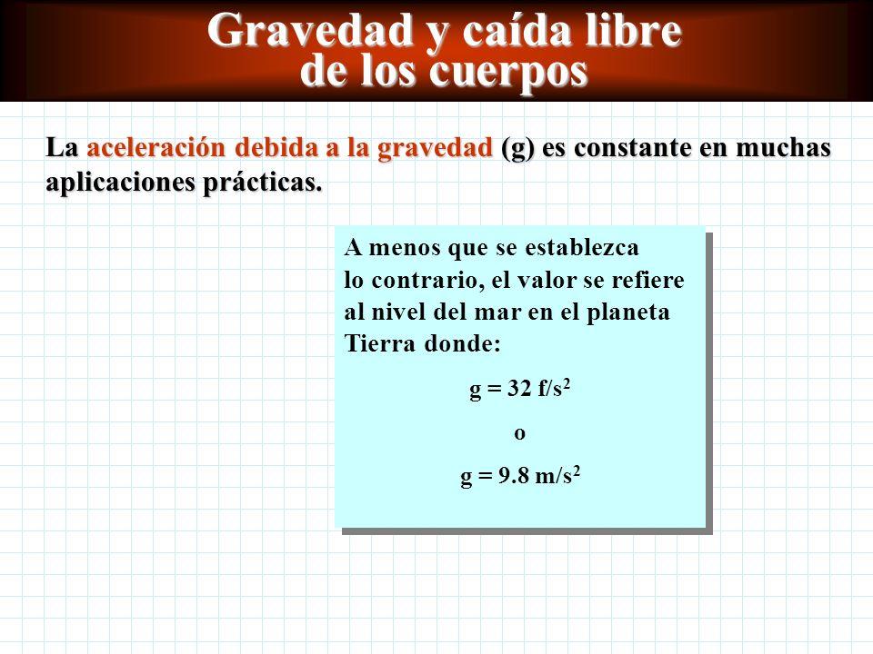 Gravedad y caída libre de los cuerpos La aceleración debida a la gravedad (g) es constante en muchas aplicaciones prácticas.