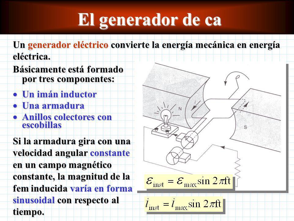 El generador de ca Un generador eléctrico convierte la energía mecánica en energía eléctrica.