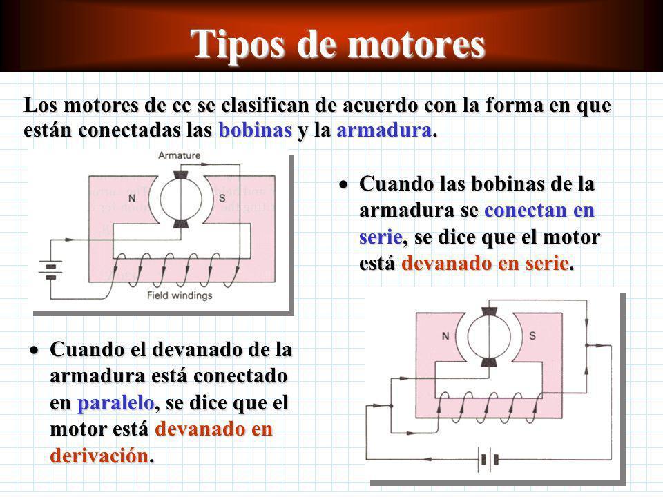 Tipos de motores Los motores de cc se clasifican de acuerdo con la forma en que están conectadas las bobinas y la armadura.