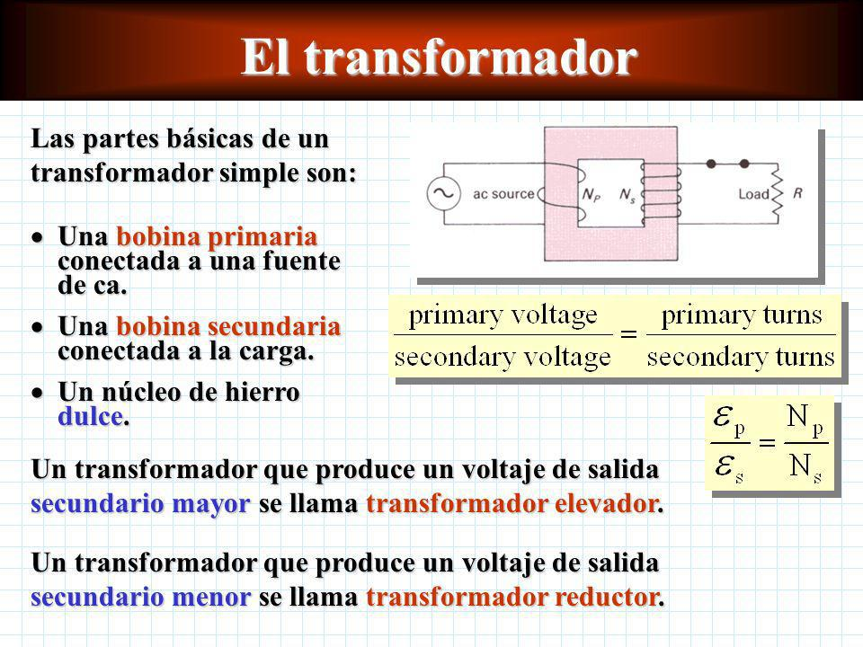 El transformador Las partes básicas de un transformador simple son: Un transformador que produce un voltaje de salida secundario mayor se llama transformador elevador.