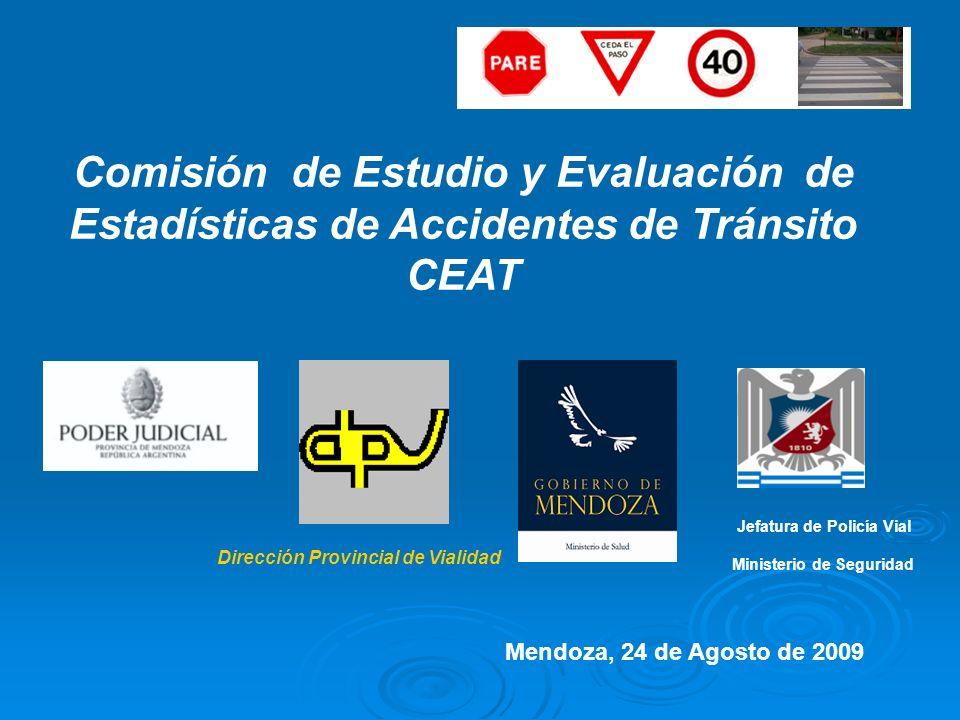 Comisión de Estudio y Evaluación de Estadísticas de Accidentes de Tránsito CEAT Dirección Provincial de Vialidad Jefatura de Policía Vial Ministerio d