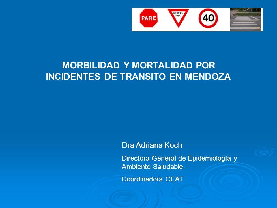MORBILIDAD Y MORTALIDAD POR INCIDENTES DE TRANSITO EN MENDOZA Dra Adriana Koch Directora General de Epidemiología y Ambiente Saludable Coordinadora CE