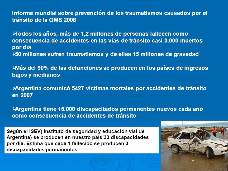 Informe mundial sobre prevención de los traumatismos causados por el tránsito de la OMS 2008 Todos los años, más de 1,2 millones de personas fallecen