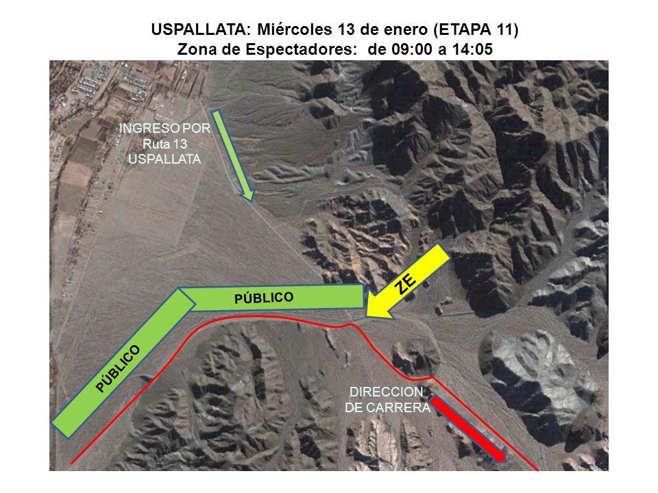 DIRECCION DE CARRERA ZE DIRECCION DE CARRERA USPALLATA: Miércoles 13 de enero (ETAPA 11) Zona de Espectadores: de 09:00 a 14:05 PÚBLICO INGRESO POR Ruta 13 USPALLATA