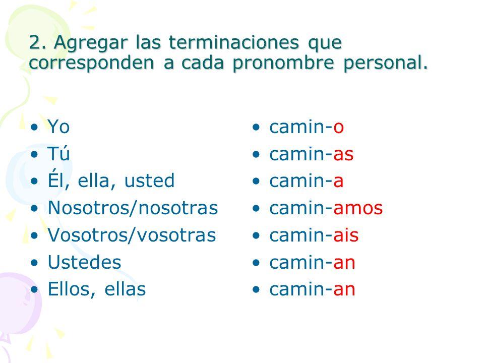 2. Agregar las terminaciones que corresponden a cada pronombre personal. Yo Tú Él, ella, usted Nosotros/nosotras Vosotros/vosotras Ustedes Ellos, ella