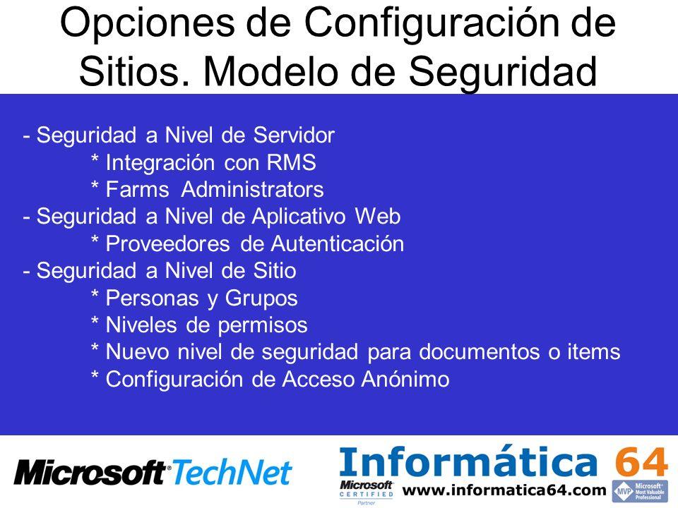 Opciones de Configuración de Sitios.