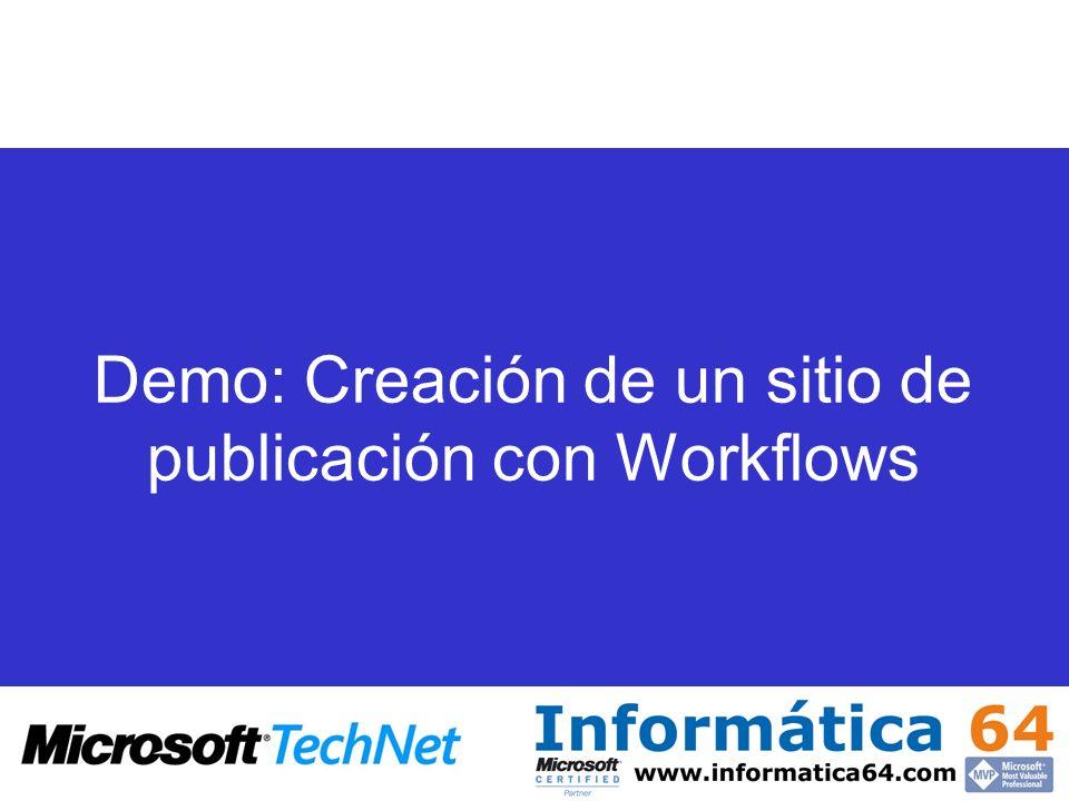 Demo: Creación de un sitio de publicación con Workflows