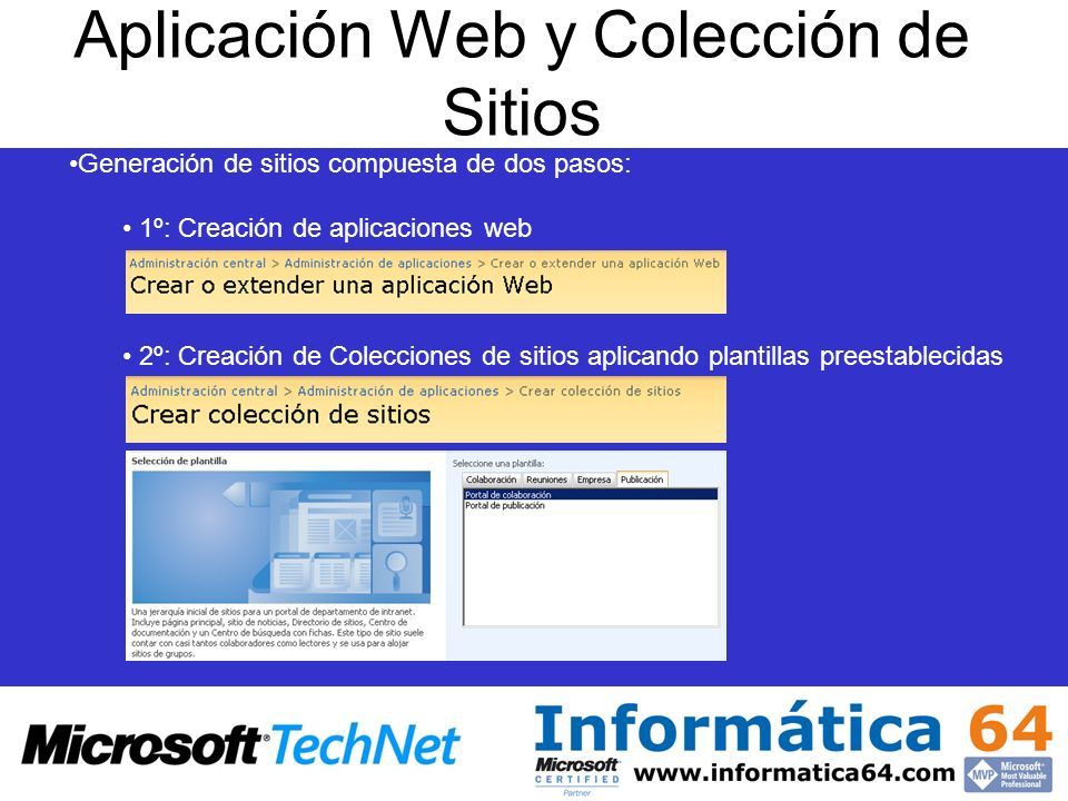 Aplicación Web y Colección de Sitios Generación de sitios compuesta de dos pasos: 1º: Creación de aplicaciones web 2º: Creación de Colecciones de sitios aplicando plantillas preestablecidas