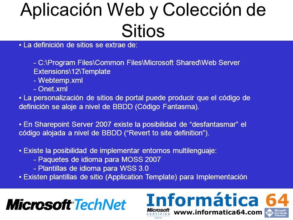 Aplicación Web y Colección de Sitios Plantillas de sitio: -Disponibles para descarga en: http://www.microsoft.com/technet/windowsserver/sharepoint/wssapps/templates/default.mspx - Dos tipos de plantilla de sitio: a)*.stp (plantilla de sitio para implementación a nivel de top level generalmente) b)*.wsp (plantilla de sitio para implementación inicial a nivel de servidor), requieren de ApplicationTemplateCore en GAC Para las plantillas a nivel de servidor, el readme de descarga aporta el proceso de implementación consistente en: 1)stsadm –o deploysolution –name ApplicationTemplateCore.wsp –allowgacdeployment 2)stsadm –o addsolution –filename.wsp 3)stsadm –o deploysolution –name.wsp