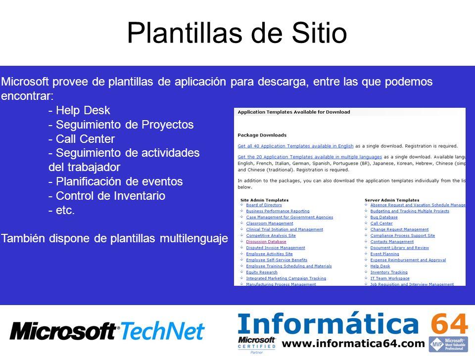 Plantillas de Sitio Microsoft provee de plantillas de aplicación para descarga, entre las que podemos encontrar: - Help Desk - Seguimiento de Proyectos - Call Center - Seguimiento de actividades del trabajador - Planificación de eventos - Control de Inventario - etc.