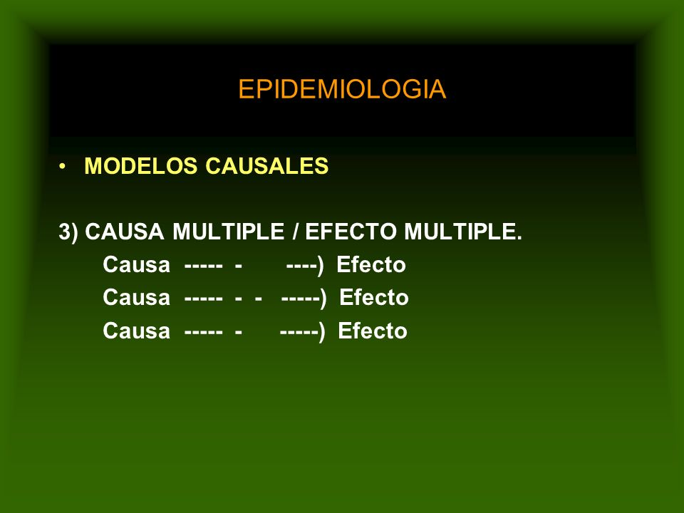 EPIDEMIOLOGIA MODELOS CAUSALES 2) CAUSA MULTIPLE / EFECTO SIMPLE. Causa ------) Causa ------) Efecto Causa ------ )