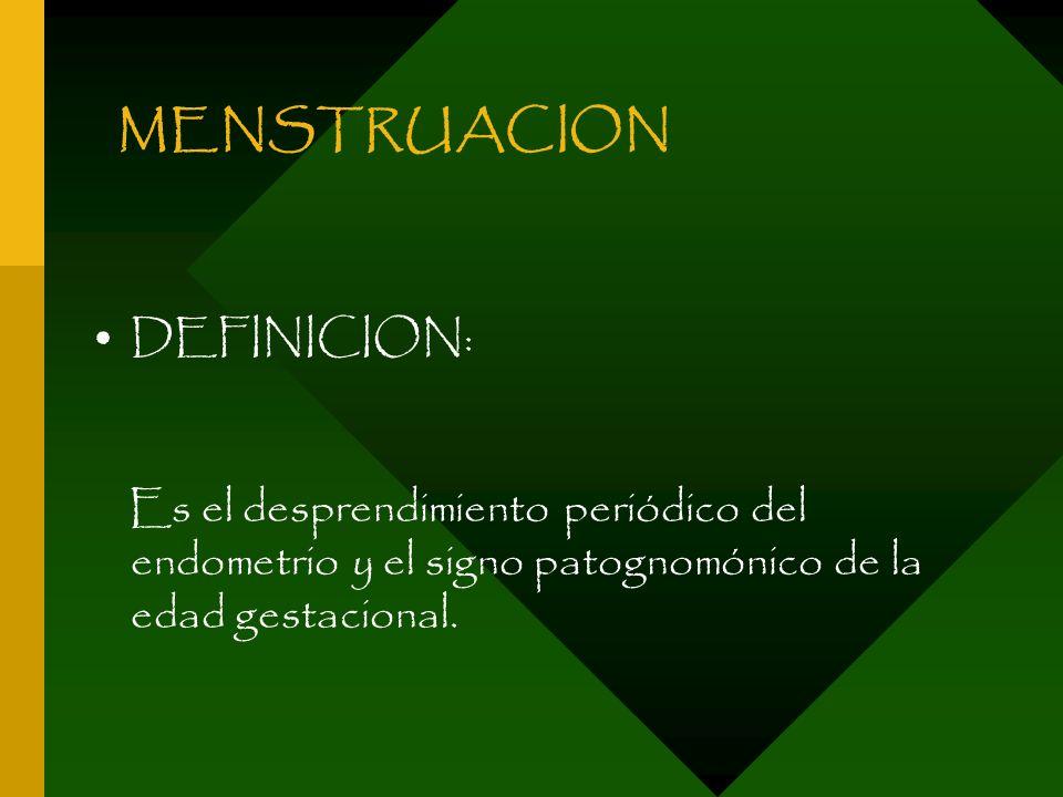 MENSTRUACION DEFINICION: Es el desprendimiento periódico del endometrio y el signo patognomónico de la edad gestacional.