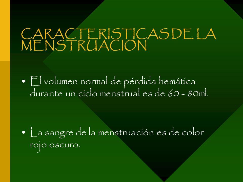 CARACTERISTICAS DE LA MENSTRUACION El volumen normal de pérdida hemática durante un ciclo menstrual es de 60 - 80ml. La sangre de la menstruación es d