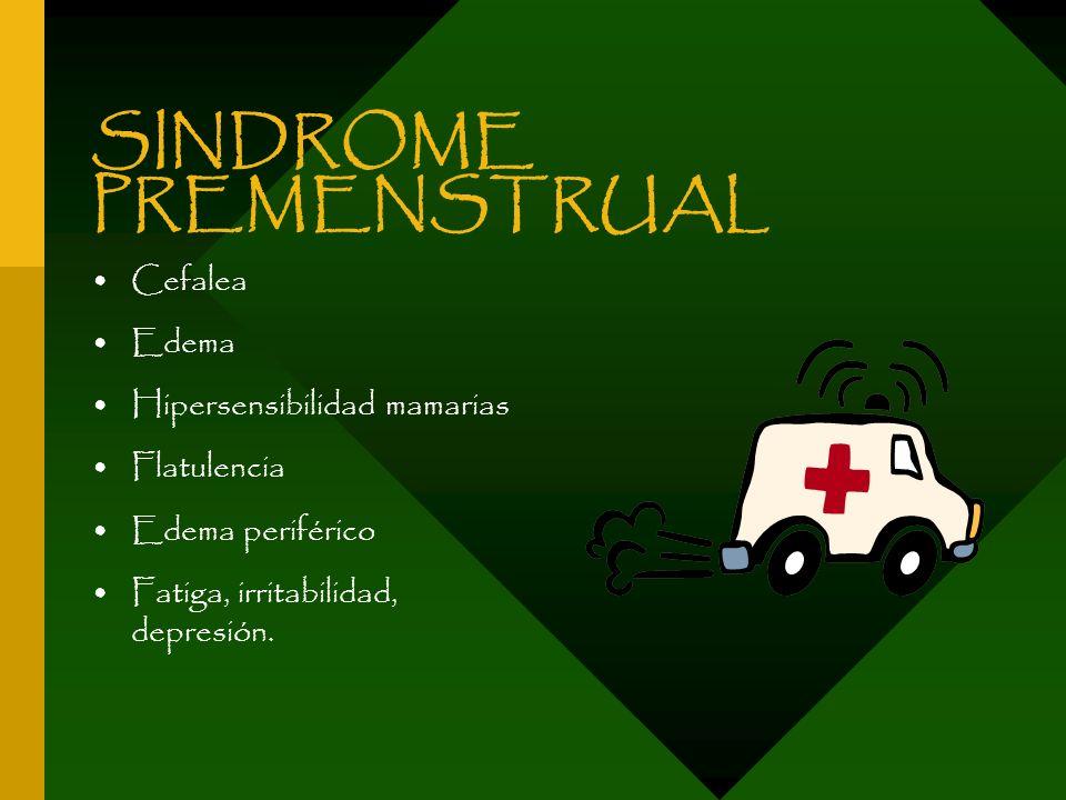 SINDROME PREMENSTRUAL Cefalea Edema Hipersensibilidad mamarias Flatulencia Edema periférico Fatiga, irritabilidad, depresión.