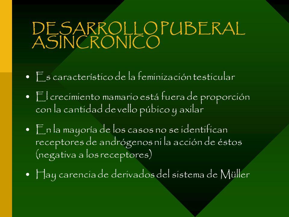DESARROLLO PUBERAL ASINCRONICO Es característico de la feminización testicular El crecimiento mamario está fuera de proporción con la cantidad de vell