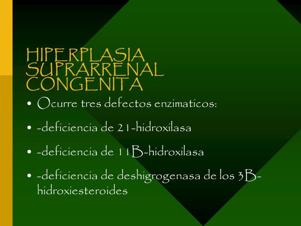 HIPERPLASIA SUPRARRENAL CONGENITA Ocurre tres defectos enzimaticos: -deficiencia de 21-hidroxilasa -deficiencia de 11B-hidroxilasa -deficiencia de des