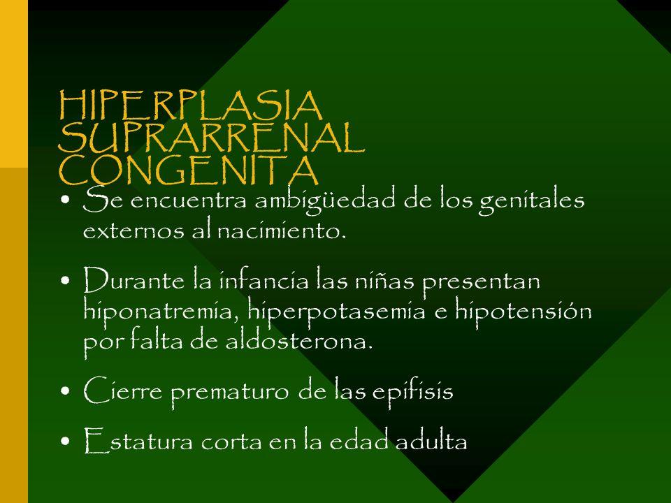 HIPERPLASIA SUPRARRENAL CONGENITA Se encuentra ambigüedad de los genitales externos al nacimiento. Durante la infancia las niñas presentan hiponatremi