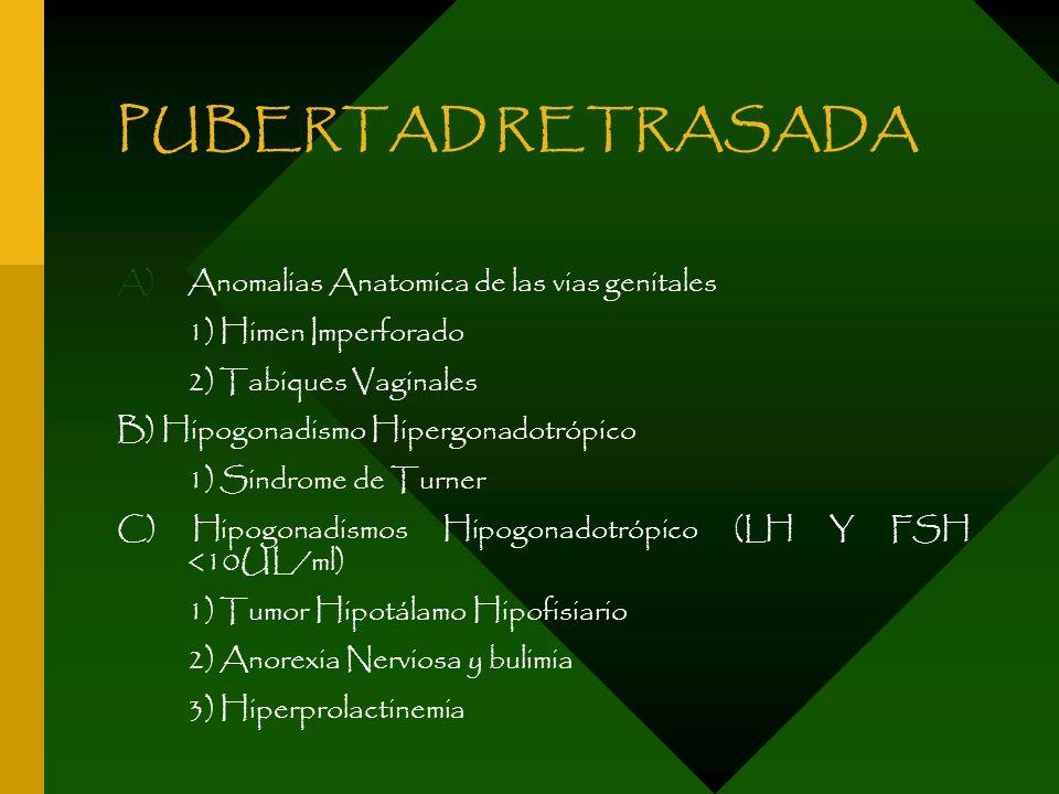 PUBERTAD RETRASADA A)Anomalias Anatomica de las vias genitales 1) Himen Imperforado 2) Tabiques Vaginales B) Hipogonadismo Hipergonadotrópico 1) Sindr