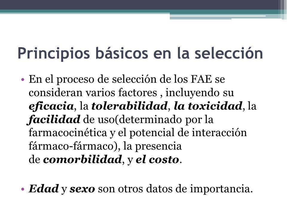 Principios básicos en la selección En el proceso de selección de los FAE se consideran varios factores, incluyendo su eficacia, la tolerabilidad, la toxicidad, la facilidad de uso(determinado por la farmacocinética y el potencial de interacción fármaco-fármaco), la presencia de comorbilidad, y el costo.