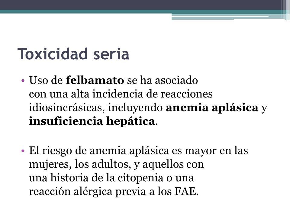 Toxicidad seria Uso de felbamato se ha asociado con una alta incidencia de reacciones idiosincrásicas, incluyendo anemia aplásica y insuficiencia hepática.
