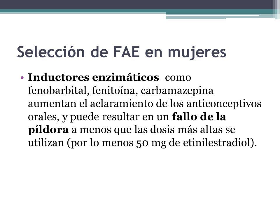 Selección de FAE en mujeres Inductores enzimáticos como fenobarbital, fenitoína, carbamazepina aumentan el aclaramiento de los anticonceptivos orales, y puede resultar en un fallo de la píldora a menos que las dosis más altas se utilizan (por lo menos 50 mg de etinilestradiol).