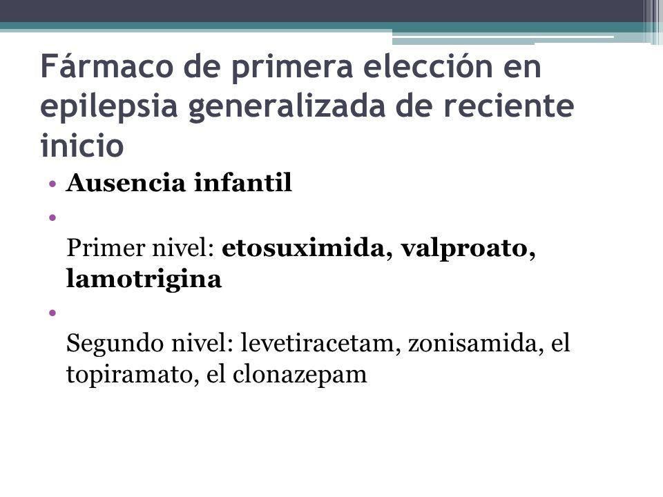Fármaco de primera elección en epilepsia generalizada de reciente inicio Ausencia infantil Primer nivel: etosuximida, valproato, lamotrigina Segundo nivel: levetiracetam, zonisamida, el topiramato, el clonazepam