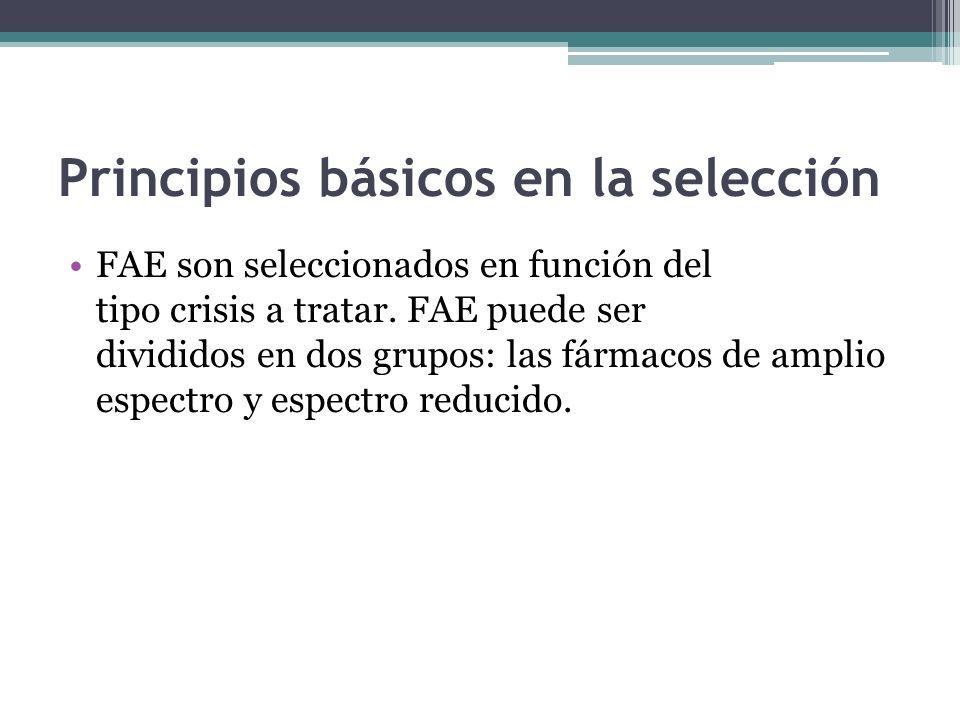 Principios básicos en la selección FAE son seleccionados en función del tipo crisis a tratar.