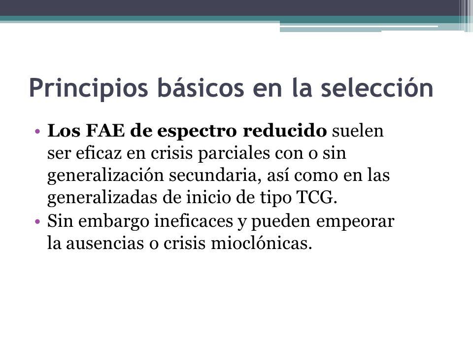 Principios básicos en la selección Los FAE de amplio espectro muestran una buena eficacia en los tipos de crisis parciales y generalizadas, siendo muy útil en situaciones donde el tipo de crisis o el síndrome de epilepsia no ha sido bien establecida.