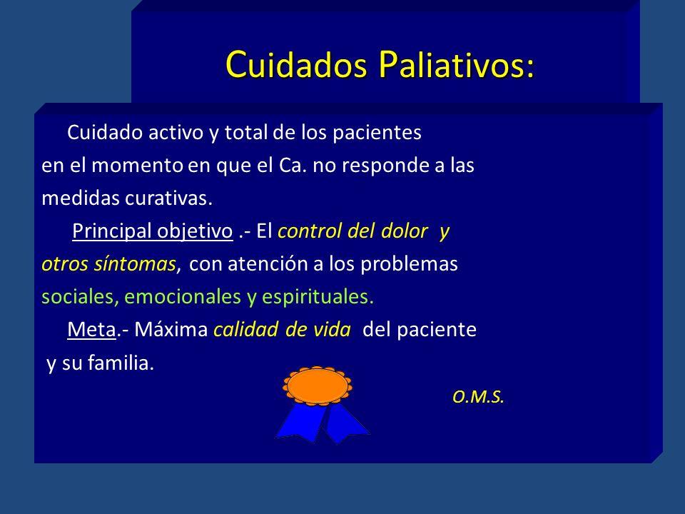 C uidados P aliativos: Cuidado activo y total de los pacientes en el momento en que el Ca. no responde a las medidas curativas. Principal objetivo.- E