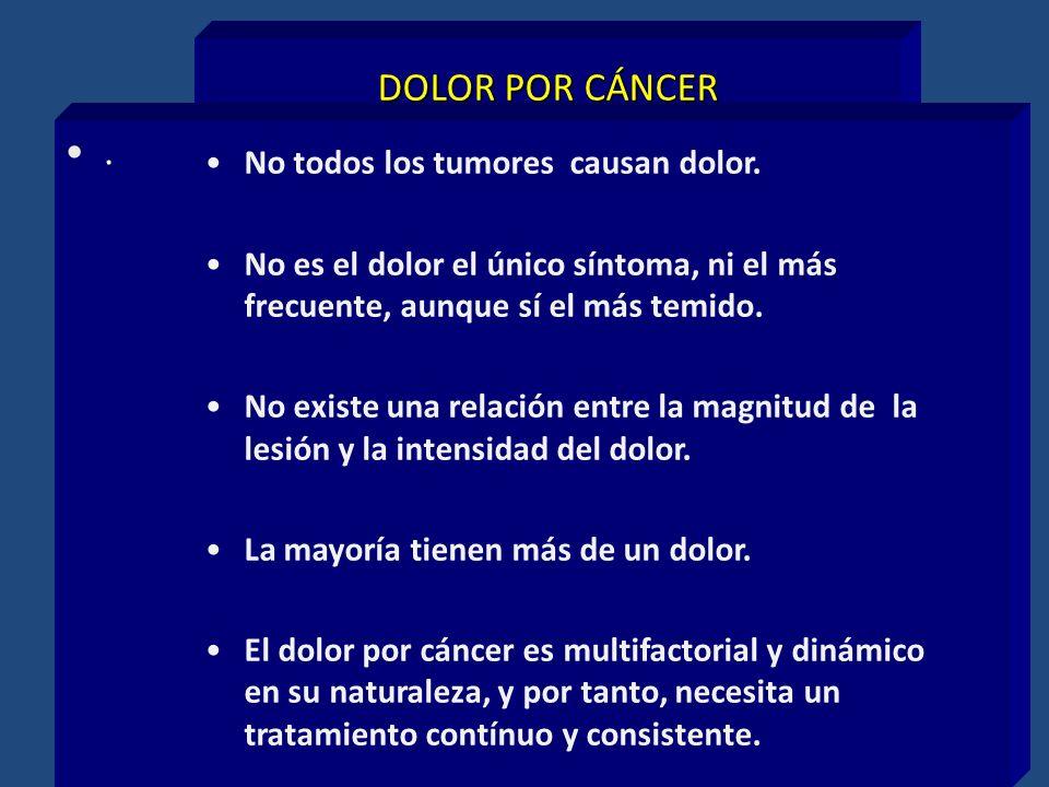 DOLOR POR CÁNCER. No todos los tumores causan dolor. No es el dolor el único síntoma, ni el más frecuente, aunque sí el más temido. No existe una rela