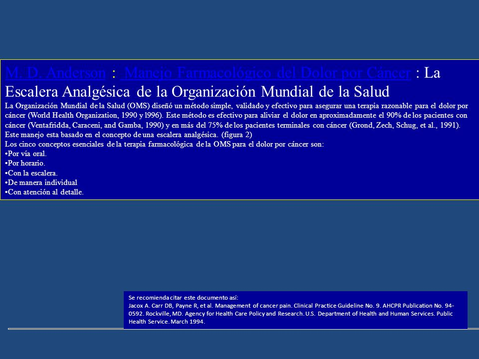 M. D. AndersonM. D. Anderson : Manejo Farmacológico del Dolor por Cáncer : La Escalera Analgésica de la Organización Mundial de la Salud Manejo Farmac