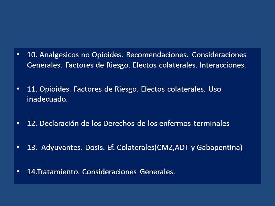 10. Analgesicos no Opioides. Recomendaciones. Consideraciones Generales. Factores de Riesgo. Efectos colaterales. Interacciones. 11. Opioides. Factore
