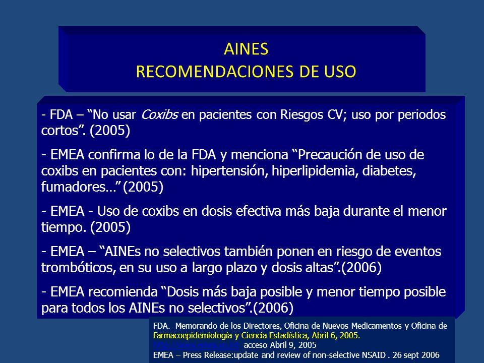 AINES RECOMENDACIONES DE USO - FDA – No usar Coxibs en pacientes con Riesgos CV; uso por periodos cortos. (2005) - EMEA confirma lo de la FDA y mencio