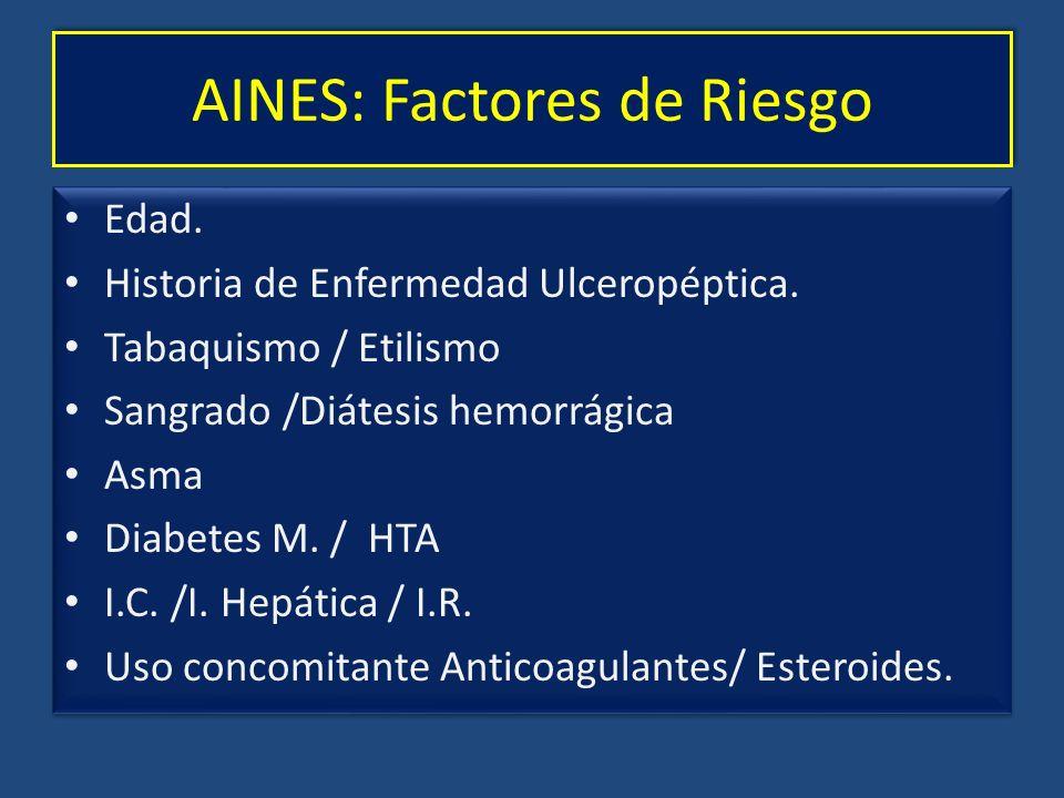 AINES: Factores de Riesgo Edad. Historia de Enfermedad Ulceropéptica. Tabaquismo / Etilismo Sangrado /Diátesis hemorrágica Asma Diabetes M. / HTA I.C.