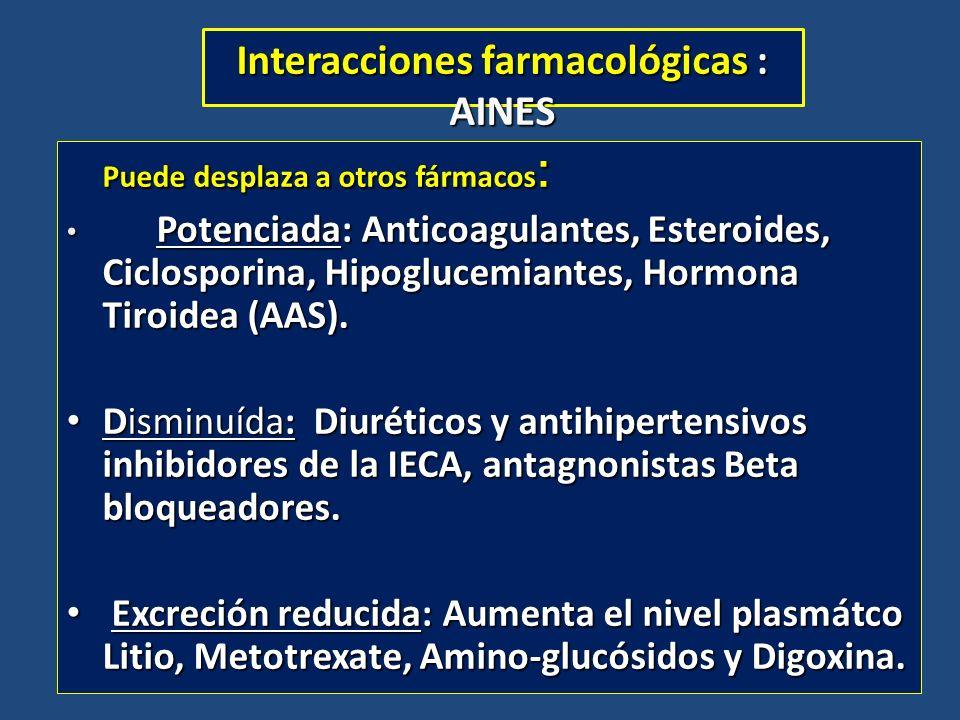 Interacciones farmacológicas : AINES Puede desplaza a otros fármacos : Potenciada: Anticoagulantes, Esteroides, Ciclosporina, Hipoglucemiantes, Hormon