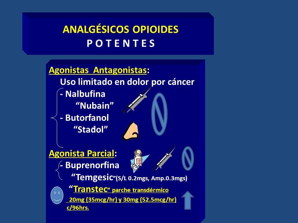 ANALGÉSICOS OPIOIDES P O T E N T E S Agonistas Antagonistas: Uso limitado en dolor por cáncer - Nalbufina Nubain - Butorfanol Stadol Agonista Parcial: