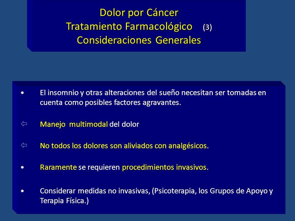 Dolor por Cáncer Tratamiento Farmacológico (3) Consideraciones Generales El insomnio y otras alteraciones del sueño necesitan ser tomadas en cuenta co