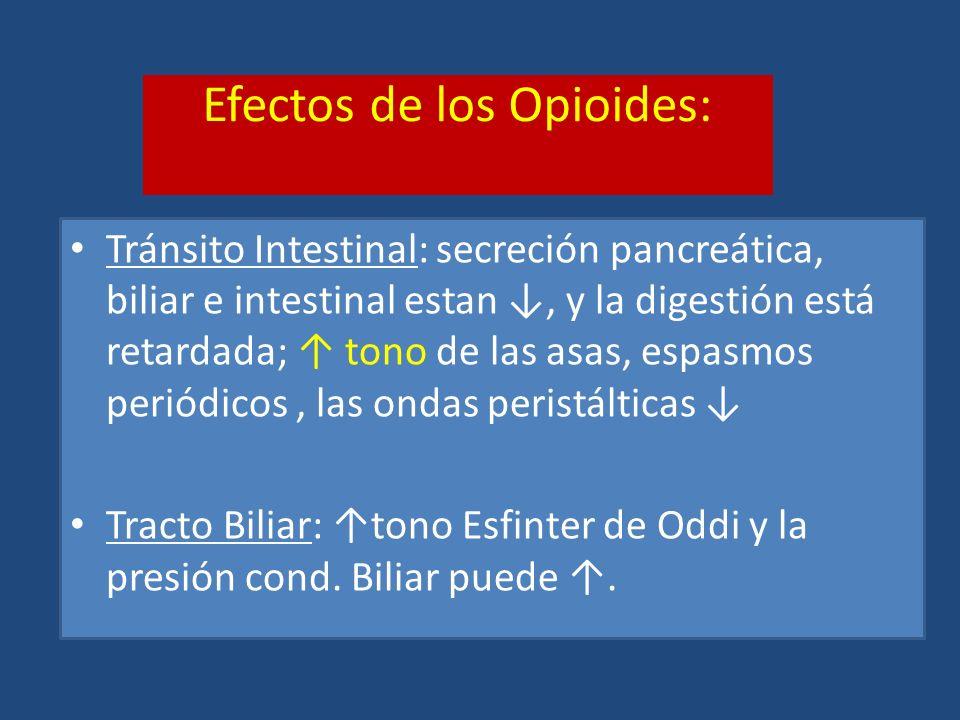 Efectos de los Opioides: Tránsito Intestinal: secreción pancreática, biliar e intestinal estan, y la digestión está retardada; tono de las asas, espas