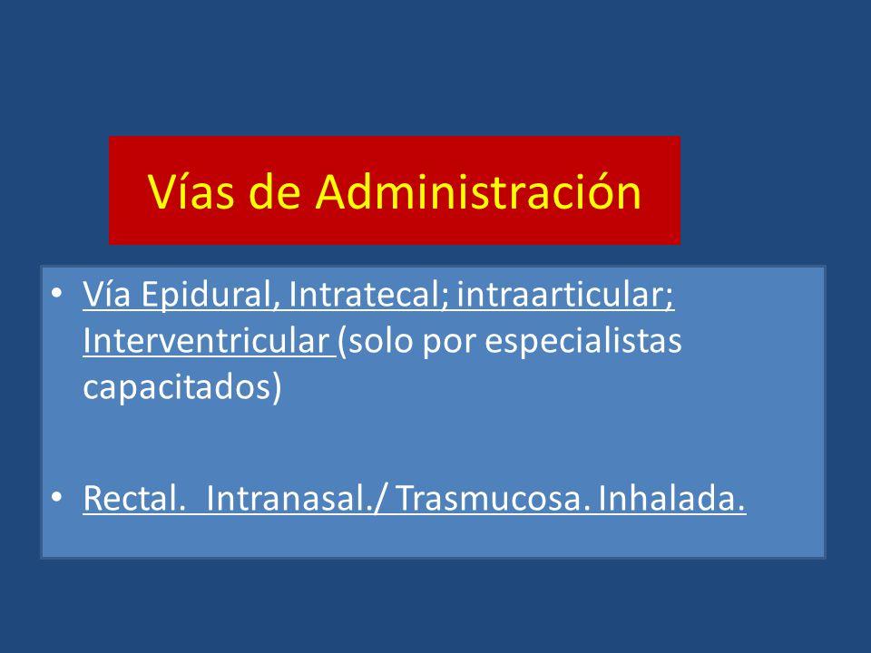 Vías de Administración Vía Epidural, Intratecal; intraarticular; Interventricular (solo por especialistas capacitados) Rectal. Intranasal./ Trasmucosa