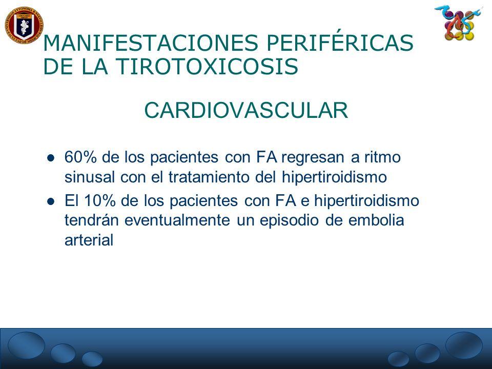 MANIFESTACIONES PERIFÉRICAS DE LA TIROTOXICOSIS CARDIOVASCULAR 60% de los pacientes con FA regresan a ritmo sinusal con el tratamiento del hipertiroid