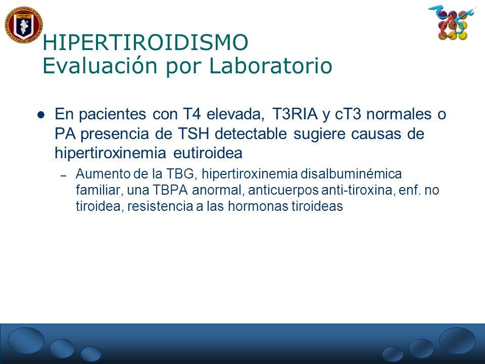 HIPERTIROIDISMO Evaluación por Laboratorio En pacientes con T4 elevada, T3RIA y cT3 normales o PA presencia de TSH detectable sugiere causas de hipert