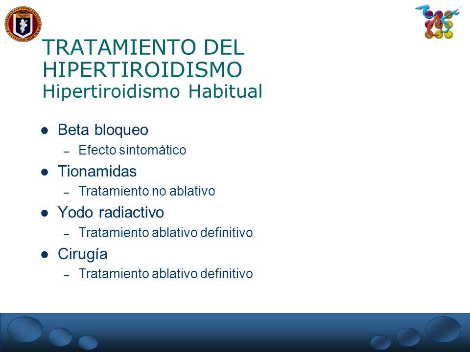 TRATAMIENTO DEL HIPERTIROIDISMO Hipertiroidismo Habitual Beta bloqueo – Efecto sintomático Tionamidas – Tratamiento no ablativo Yodo radiactivo – Trat