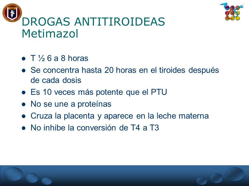 DROGAS ANTITIROIDEAS Metimazol T ½ 6 a 8 horas Se concentra hasta 20 horas en el tiroides después de cada dosis Es 10 veces más potente que el PTU No