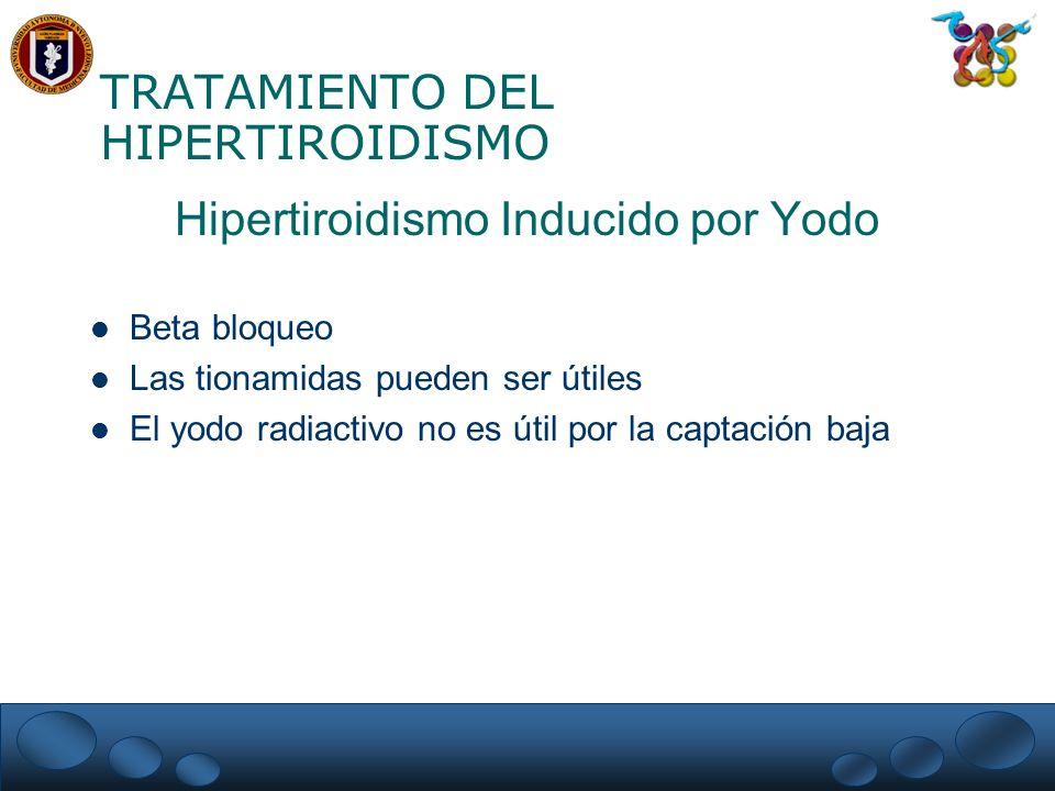 TRATAMIENTO DEL HIPERTIROIDISMO Hipertiroidismo Inducido por Yodo Beta bloqueo Las tionamidas pueden ser útiles El yodo radiactivo no es útil por la c